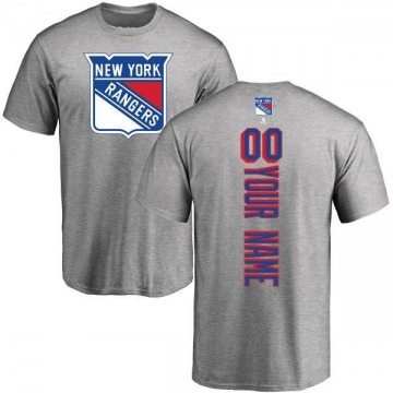 Men's Custom New York Rangers Custom Backer T-Shirt - Ash
