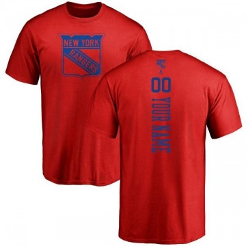 Men's Custom New York Rangers Custom One Color Backer T-Shirt - Red