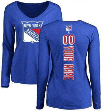 Women's Custom New York Rangers Custom Backer Long Sleeve T-Shirt - Royal