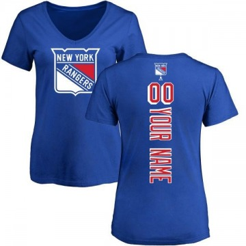 Women's Custom New York Rangers Custom Backer T-Shirt - Blue