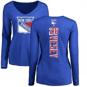 Women's Jimmy Vesey New York Rangers Backer Long Sleeve T-Shirt - Royal