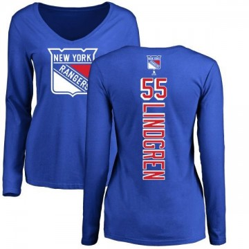 Women's Ryan Lindgren New York Rangers Backer Long Sleeve T-Shirt - Royal
