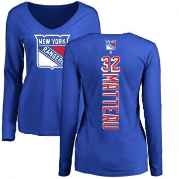 Women's Stephane Matteau New York Rangers Backer Long Sleeve T-Shirt - Royal