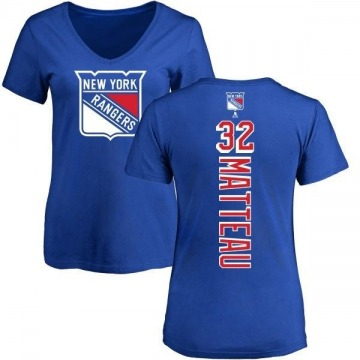 Women's Stephane Matteau New York Rangers Backer T-Shirt - Blue